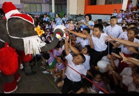 Слоны в костюмах Санта-Клауса раздали детям подарки