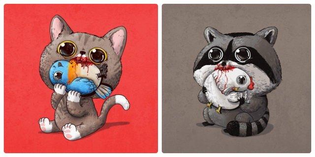 Тревожно-очаровательные рисунки хищников и их жертв