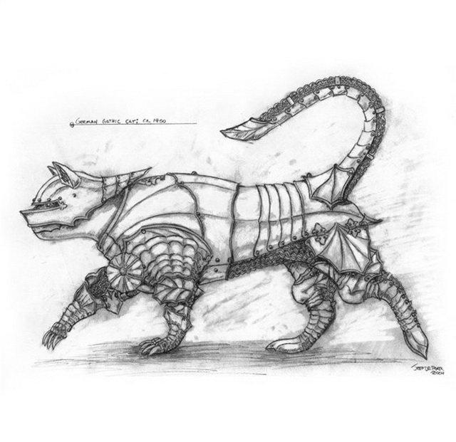 Эпические доспехи для кошек и мышей от Джеффа де Боера